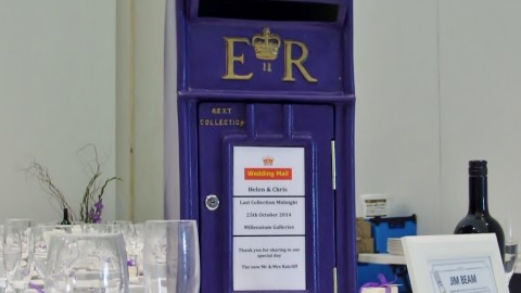 Purple Postbox for wedding
