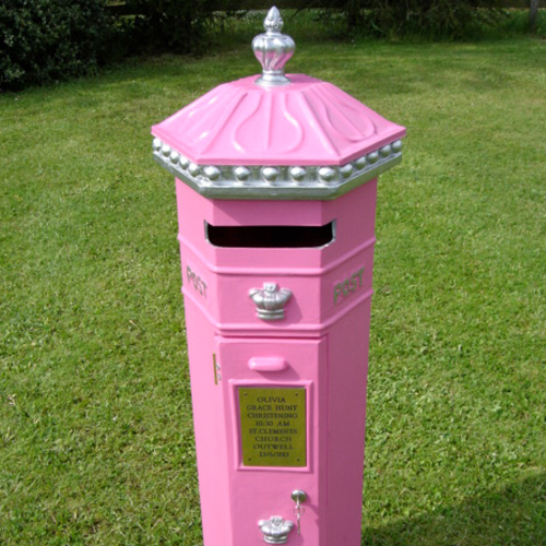 Pink penfold postbox for Wedding